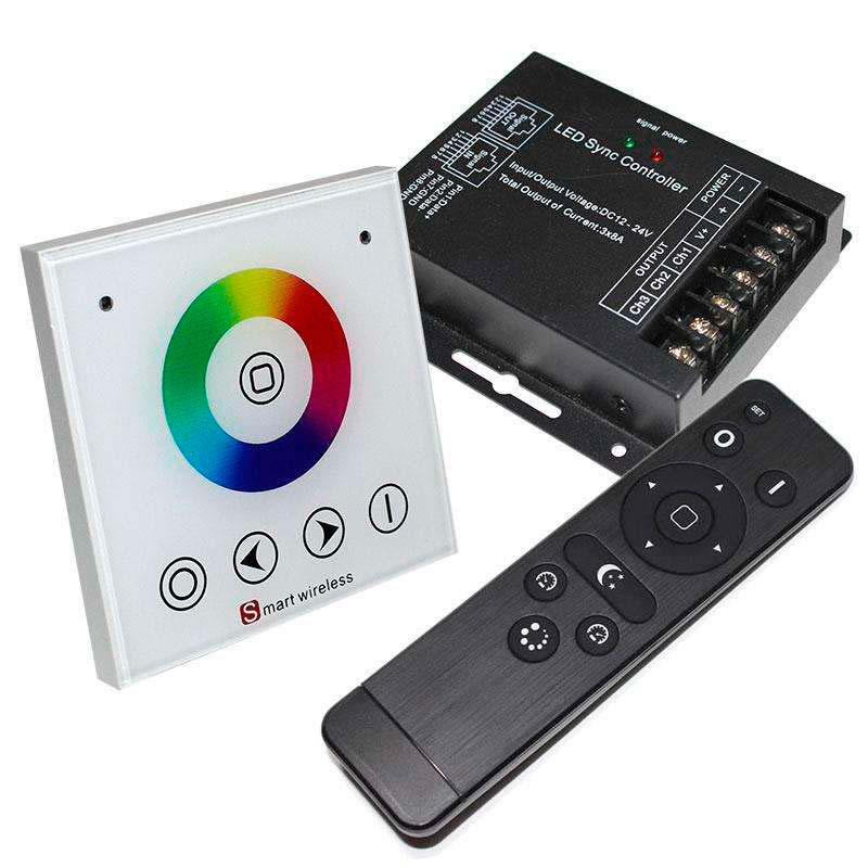 Controlador RF RGB táctil empotrable + mando a distancia